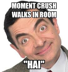 Funny Crush Memes - moment crush walks in room hai funny mr bean meme image quirkybyte