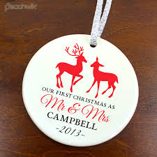 personalized wedding ornament personalized our christmas married deer wedding ceramic