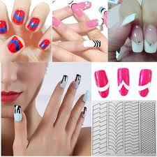 french nail art tip tape guide stencil manicure tool for sticker
