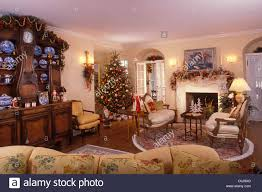 living room in victorian style home decorated for the christmas