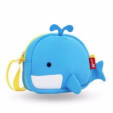 nohoo kids sling bag whale blue waterproof kids backpack