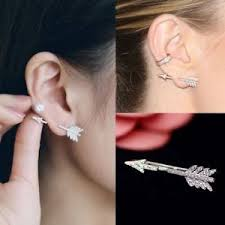creative earrings creative 1pc silver bow arrow earring ear stud women s