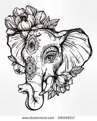 decorative vector elephant with tribal ornaments and flowers