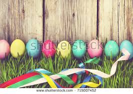 happy easter decorations easter decoration eggs flowers on wood stock photo 588248222