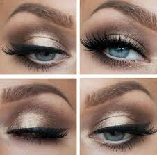 gold dress or blue dress makeup