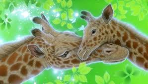 giraffes giraffes growth family green paintings animals four