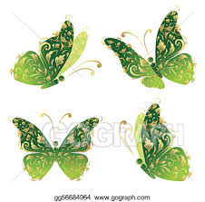 vector illustration green butterfly flying floral golden