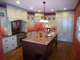 cherry kitchen island custom color perimeter kitchen with cherry island country