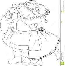 mrs claus kisses santa on cheek and hugs coloring stock images