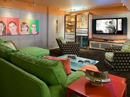 Makeover Monday Neutral Basement Rec Room Into Colorful Family - Family rec room
