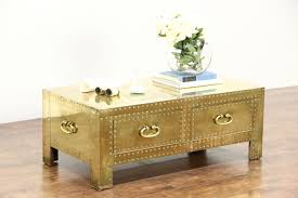 brass trunk coffee table sold brass trunk vintage coffee or cocktail table copper rivets