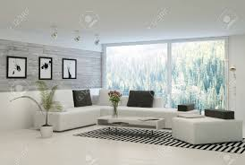 Stone Wall Living Room by Modern Living Room With Huge Windows And Stone Wall Stock Photo
