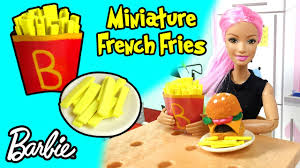 how to make barbie doll french fries diy easy miniature doll