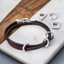 mens bracelet charms images Leather and silver mens bracelet with 3 charms to add personalisation jpg