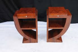 Pair Art Deco Bedside Tables Nightsands Bedroom Furniture - Art deco bedroom furniture for sale uk