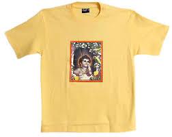 light yellow t shirt lord krishna s face on light yellow t shirt size m