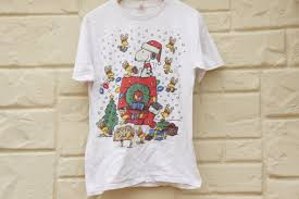 snoopy christmas t shirts vintage 90s peanuts snoopy christmas t shirt by sycamorevintage