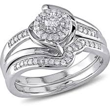 silver diamond rings miabella 1 4 carat t w diamond sterling silver halo twist bridal