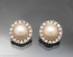 vintage earrings vintage yellow pink pearl pave earring post 9 dollars