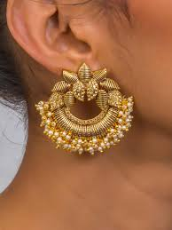 chandbali earrings buy precious gold lotus shaped chandbali earrings by abhivyaktaa