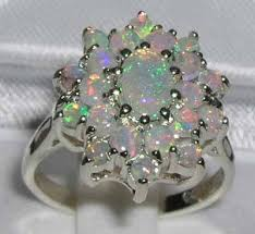 opal silver rings images Sterling silver opal cluster ring silver rings gold silver jpg