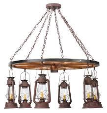 Indoor Lantern Chandelier 117204 Miners Lantern Wagon Wheel Six Light Chandelier