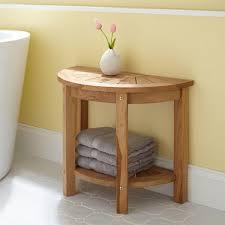 Bathroom Shower Stool Teak Shower Shelf Chic Walk In Shower Features Walls Clad In
