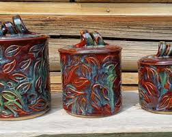 Green Kitchen Canister Set by 3 Piece Canister Set Etsy
