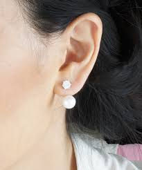 front back earrings simple everyday and pearl front back ear jacket earrings
