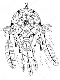 coloring pages of indian feathers dreamcatcher feathers and beads coloring page stock vector