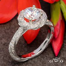 twisted halo engagement ring 14k white gold 4 prong twist mounting