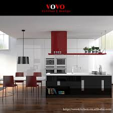 high gloss black and white lacquer kitchen cabinet with built in