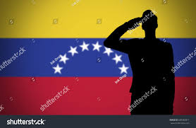 Venezual Flag Silhouette Soldier Saluting Against Venezuela Flag Stock