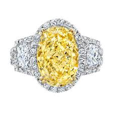 oval cut engagement rings 5 00 carat fancy yellow oval cut halo engagement ring