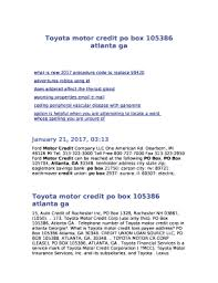 toyota motor credit number fillable online toyota motor credit po box 105386 atlanta ga fax