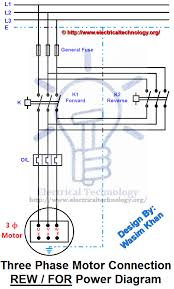 rev for three phase motor connection power diagram electrical