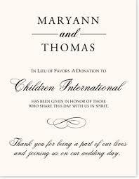 custom wedding donation cards for your charity favors and