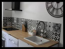 credence cuisine imitation carrelage credence york noir et blanc frise vinyle adh sive