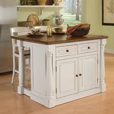 shop kitchen islands carts at lowes com home styles white midcentury kitchen island with 2 stools