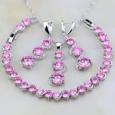 silver necklace ruby images Pink created oval ruby 925 sterling silver jewelry set jpg