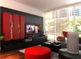 living room modern wall units with red tone has chinese style
