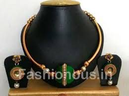 green fashion necklace images Customized silk thread jewellery fashionous jpg