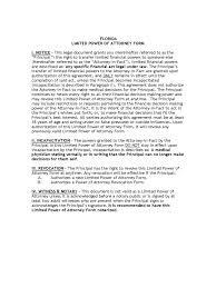Limited Power Of Attorney Form Real Estate by Florida Power Of Attorney Form Free Templates In Pdf Word