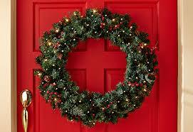 pre lit wreath cordless pre lit indoor outdoor wreath sharper image
