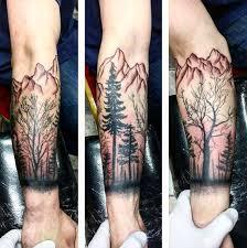cool mens mountain forearm tree tree tattoos