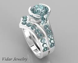 Custom Wedding Rings by Unique Style Aquamarine Wedding Ring Set Vidar Jewelry Unique