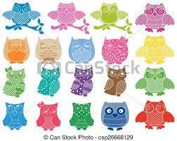 vector illustration of set of nineteen ornamental owls set of
