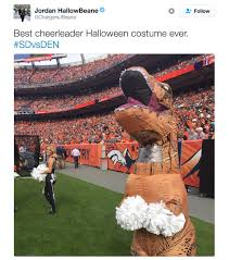 this broncos cheerleader u0027s t rex costume wins halloween
