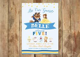 beauty and the beast party invitation 5x7 digital file