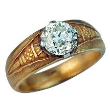 mens ring antique russian solitaire diamond gold men s ring for sale at 1stdibs
